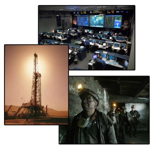 oil rigs, mines, control centers